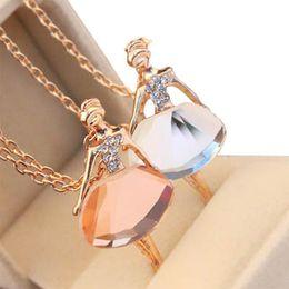 Ballet Necklace diamond wedding pendant necklaces Elegant Ballerina ballet girl statement Necklace party Queen