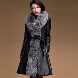 Wholesale women real fur and leather coat for female long sheepskin leather down coat with big fox fur collar trim lady warm winter jacket