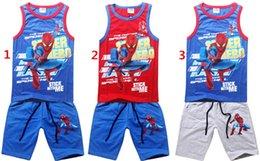 Spiderman ensembles de vêtements d'été à vendre-Spiderman Garçons Cartoon 2PCS Tenues Set Coton Débardeur Pantalons Cinquième 2PCS Set Enfants Summer Beach Set Vêtements