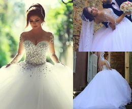 Luxury Vintage Wedding Dresses 2016 Crystal Beaded Long Sleeve Wedding Dress Sweetheart vestido de noiva Bridal Ball Gown Real Image