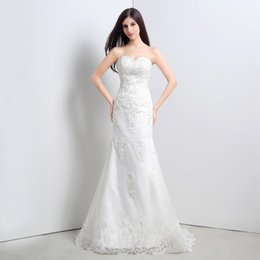 Mermaid Lace Applique Wedding Dresses Vestidos De Novia Sweetheart Back Lace Up Ruffed In Stock Real Picture Ivory Bridal Gowns 2015