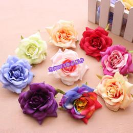 Descuento las cabezas de flor clips 20pcs nueva DIY Curling simulación Rose seda Heads pinzas de pelo de la flor de la cabeza de flor Guirnaldas Scorsage decoración de la boda