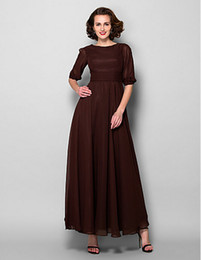 A-line Plus Sizes Mother of the Bride Dress Chocolate Ankle-length Half Sleeve Chiffon Dresses
