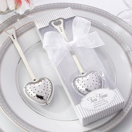 Wholesale Hot sales quot Tea Time quot Heart Tea Infuser Heart Shaped Stainless Chain Herbal Tea Infuser Spoon Filter Creative home love tea leak gift