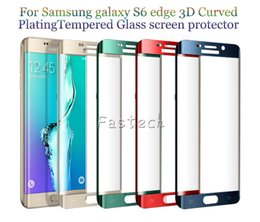 NEW S6 Edge S6 Edge plus 8 Colors 3D Curve Full Cover Curved Glass Screen Protector tempered glass 9H Hardness Screen Protector Retail box