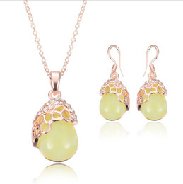 Rose Gold Necklace Earrings Jewelry Sets Fashion Newest Crystal Wedding Jewelry Set For Women Best Gift Jewelry CAL1087A