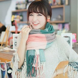 Wholesale 10PCS HHA215 Christmas Lady Blanket Oversized Tartan Scarf Wrap Shawl Plaid Cozy Checked Acrylic fibres colorful dual purpose Korean collar