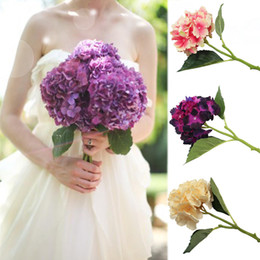 Wholesale Becautiful Artificial Craft Hydrangea Bouquet for Home Party Wedding Decoration Fake Bridal Silk Flowers