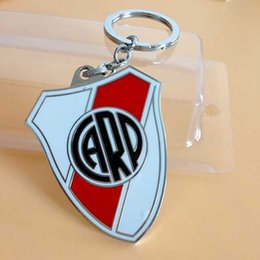 Wholesale Argentine Football Club River Plate FC Team Logo Metal Keychain Kid Football Fans Souvenir Supplies Decorative Pendant Keyring
