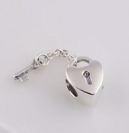 HEART LOCK & KEY CHARM DIY Beads Solid 925 Silver Not Plated Fits Pandora Bracelet&Charms