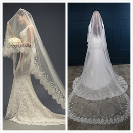Hot Selling Bridal Wedding Veils One Layer 3m White Ivory Lace Appliqued Bridal Veils Tulle Wedding Veil In Stock