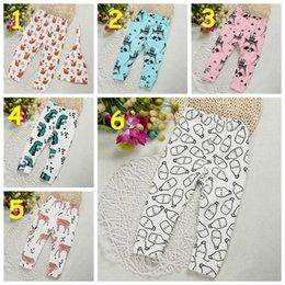 Wholesale INS Baby Autumn Winter fleece lined cotton cartoon Pants kids cute fox milk bottle pattern warm Leggings styles size