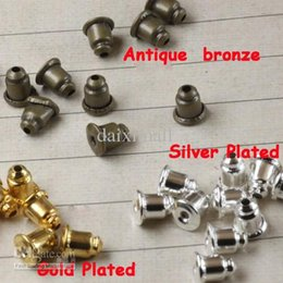 Wholesale 1000piece Antique Bronze Silver Plated Gold Plated Earring Back Stoppers Ear Post Nuts Settings for Earring Studs