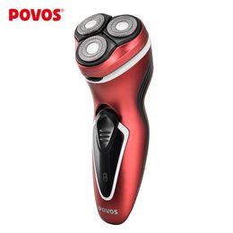 Promotion rasoirs rechargeables imperméables pour les hommes Gros-Povos rechargeable Hommes Triple Lame Design ergonomique Rasoirs électriques rasoir remplaçable étanche avec Pop-up Trimmer PW751R