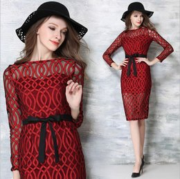 2016 SPRING sexy transparent blackless plus size clubwear lace dress slash neck long sleeve red midi dress for party S M L XL 10