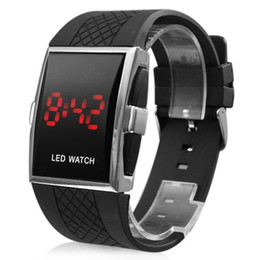 LED Man Wrist Watch Quartz Watch Unisex Red LED Silicone Band Wrist Black Square Dial.PUPUG Quartz Wristwatch Men Women Watch
