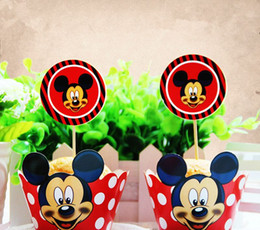 Free Shipping Red Paper Cake Cup Minnie Mouse Cupcake Wrapper and Topper Wedding Birthday Decoration