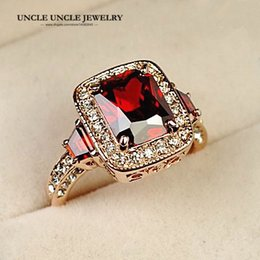 Hotselling!!! Rose Gold Color Perfect Cut Red Crystal Rectangle Austrian Crystal Luxury Lady Finger Ring Wholesale 18krgp
