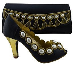 New fashion high heel shoes match bags series with big pearl decoration African shoes and handbag sets for party 1308-L59 balck