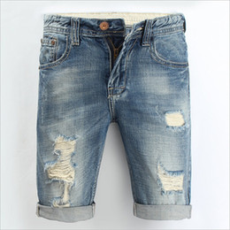 Wholesale- New Summer Men Jeans Shorts 100% Cotton Size 28-38 Distressed Denim Jean Shorts Ripped Vintage Shorts Men