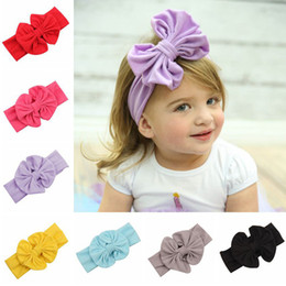 2015 new elastic lace baby girl headbands hot big bow hair bands for girls childrens elastic headwrap for girls in 9 colors cheapest