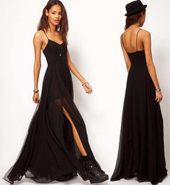 Women Black Spaghetti Straps Long Dress Sexy Western Ladies Plus Size Celebrity Ball Gown Floor-Length Dresses