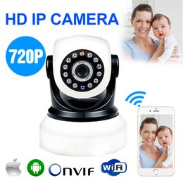 Wholesale HD MP P Wireless IP Camera With G Card WIFI Webcam Night Vision LED IR Dual Audio Pan Tilt Support IE Iphone Android