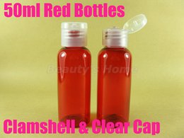 Wholesale 50ml Clamshell Cap Red bottle comestic bottle make up container small empty bottles