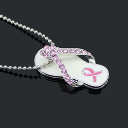 Breast Cancer Awareness Pink Ribbon Jewelry Necklace, Pink Ribbon Flip Flop Pendant Necklace