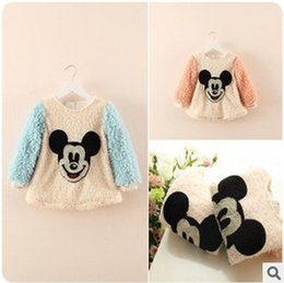 Wholesale 2014 New Arrival Disney Style Girls Autumn Winter Thicken T shirt Children Long Sleeve Sweet T Shirt