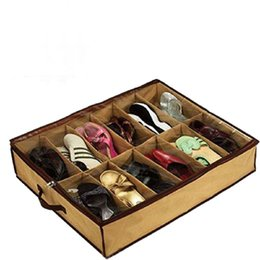 New Cheap 12Pair Cloth Fabric Shoes Storage Organizer Holder Shoe Organiser Box Closet Free Shipping