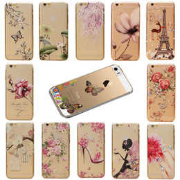 "Wholesale-New Arrival Cover Protector For Apple iPhone 5C 4.0"" Colorful Flower Girls Pattern Transparent Cartoon Skin Back Hard Case"