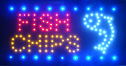 Wholesale Neon Lights LED Animated Fish Chips Sign Customers Attractive Sign Store Shop Sign V or V