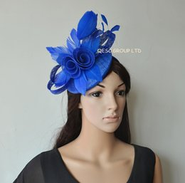 New Arrival. Royal blue sinamay Fascinator with feather flowers for Kentucky derby,Melbourne cup,Races,Weding.
