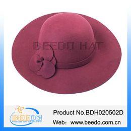 Wholesale-Fashion 100% Wool Felt Ladies Cloche Floppy Hat Wide Brim Bowler Hat For Women