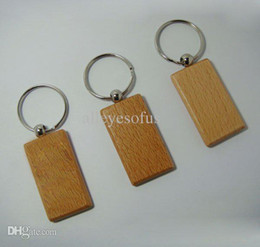 Wholesale Steel Key Blanks - Wholesale-Wholesale 50pcs Blank Wooden Key Chain Promotion Rectangle Carving Key ID can Engrave DIY 2.2''*1.25'' -Free