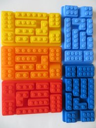 Wholesale 2015 LEGO Ice Bricks Building Different Chocolate Ice Cake Jelly Mold Brix Silicone Ice Cube Tray Brick Block