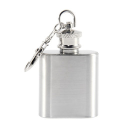 Mini Portable Key Chain Style Stainless Steel 1oz Pocket Hip Flask Alcohol Whiskey Liquor Screw Cap Pendant Gift Jug