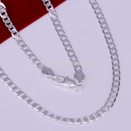 "Wholesale-Wholesale! Fashion 925 silver jewelry necklace chain,Men's 4mm Sterling Silver 925 Necklace Curb Chain 16""-30"",pick"