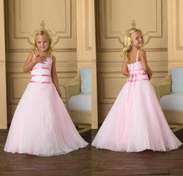 Draped Chiffon Light Pink Flower Girls Dresses A Line Spaghetti Straps Flower Girls Dresses With Beaded Prom Party Pageant Dresses