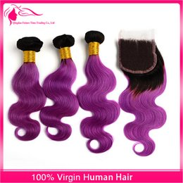 New Arrival #1B Purple Hair Weaves With Lace Closure Free Middle Three part 4pcs lot Malaysian Ombre Hair Closure With Hair Bundles