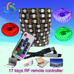 DC5V USB RGB LED strips SMD5050 ip20 17 Keys RF remote controller for Interior counter camping tents TV background