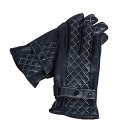 Wholesale-New brand 2015 Mens Luxurious Leather Winter Super Driving Warm Gloves Cashmere Black Yellow White