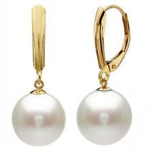 A Pair of 9-10mm South Sea White Pearl Earring 14k Gold Accessories