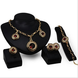 2017 new European and American retro exaggerated 18k gold jewelry set