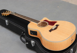Wholesale most popular music instrument OEM solid spruce top falme maple material back acoustic guitar made in China
