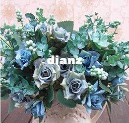 Wholesale New Arrive Elegant Oil Painting Style Artificial Rose Silk Flowers Flower Head Floral Wedding Garden Decor DIY Decoration