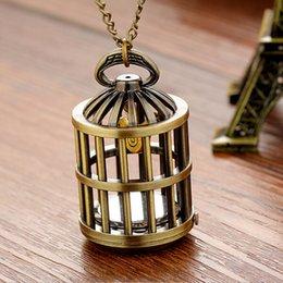 vendimia cadena de relojes de cuarzo de bolsillo caliente exquisito Birdcage ver diseño creativo de los hombres de las mujeres collar de reloj de nuevo pendientes de la moda del reloj de bolsillo desde mujer del reloj del collar fabricantes