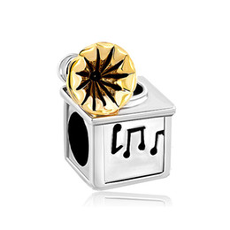 Personalized women jewelry European style music lover phonograph metal spacer bead lucky charms fits Pandora charm bracelet