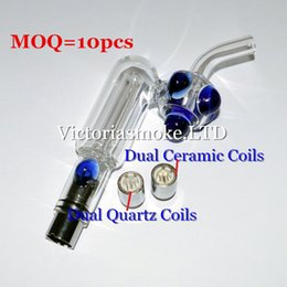 MOQ=10pcs Glass Hookah atomizer Dry Herb Wax Vaporizer herbal dual quartz coil dual ceramic coils water filter pipe ecig bongs ecigs